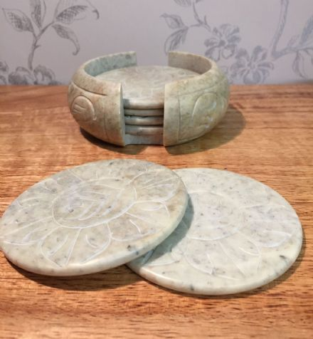 Indian Soapstone Hand Carved 6 Piece Coaster Set in Natural Finish with Cradle
